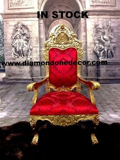 price per chair Amazing Baroque French Reproduction Louis XVI Rococo Throne Chair Exquisite hand-carved mahogany luxury Throne Chair Custom made: Available in your choice of fabric, color Rococo Chair, Queen Chair, Cake Design Inspiration, Furniture Board, Modern Furniture, Throne Chair, Wedding Chairs, French Decor, Louis Xvi