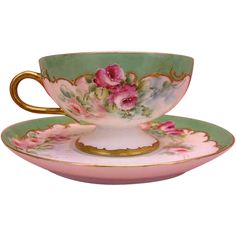 """""""FRENCH ROSES TEA CUP & SAUCER"""" Beautiful Antique Haviland Limoges France Pedestal Teacup & Saucer Hand Painted Vintage Victorian Floral Art China Painting Artwork Old European Porcelain 19th Century American France Circa 1893-1930"""