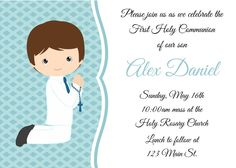 Personalised First Communion Invitations Boy New Design 5 Première Communion, First Communion Party, First Holy Communion, Mickey Mouse Birthday Invitations, Holy Communion Invitations, Child Please, Fiesta Party, Christening, Boys