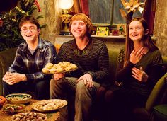 """(Talking about the scene in HBP when Ron comes and sits between Harry and Ginny in The Burrow) """"We must have done it 20 times because we couldn't stop laughing because Ron sat down and said, """"Pie?"""" Me and Rupert were pretty terrible, corpsing, still. Well, I mean, I've got a lot better. Rupert's awful still."""" - Daniel Radcliffe"""