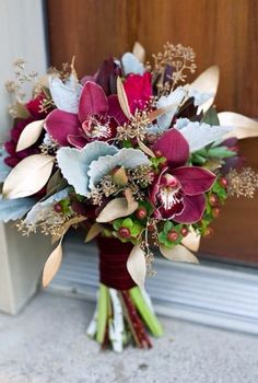 Dusty Blue and Burgundy Bridesmaid Bouquets