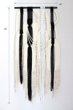 Macrame Wall Hanging blk wht 21 by HIMO ART One of a by HIMOART