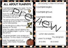 From Seed to Jack-o-lantern...Interactive and Paper Pencil! Poetry Anchor Chart, Anchor Charts, Pumpkin Life Cycle, Nouns And Adjectives, Word Work Centers, Types Of Sentences, Realistic Fiction, Vocabulary Cards, Jack O