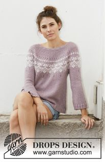 Rosewood / DROPS - Free knitting patterns by DROPS Design Knitted sweater in DROPS Sky. The piece is worked from top to bottom with round yoke, Nordic pattern, A-cut and long. Fair Isle Knitting Patterns, Sweater Knitting Patterns, Knit Patterns, Free Knitting, Drops Design, Laine Drops, How To Start Knitting, Kawaii Clothes, Pulls