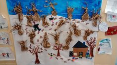 Murale préscolaire, érables, cabane à sucre. Seasons Activities, Activities For Kids, Sugaring, Maple Syrup, Preschool, Gallery Wall, Holiday Decor, Teaching French, Crafts