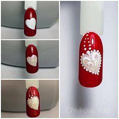 Regran_ed from nail_suny - yulja_k # # # # # Valentine Nail Art, Holiday Nail Art, Christmas Nail Art, Valentines, Valentine Nail Designs, Cute Nails, Pretty Nails, Valentine's Day Nail Designs, Nails Design