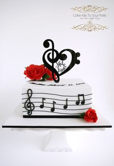 "Musical Cake (engagement)  www.facebook.com/cakemetoyourparty ""Love is all you need"", according to newly engaged couple, Mal and Lisa! We made a marble mud cake with butterscotch buttercream. The custom musical themed cake topper, was made by À la Roch. A big thank you to Lisa for taking the time out (at 330am), to write and tell me how much they loved their cake (that makes a girl feel special), and for leaving such a lovely review. Congratulations!"