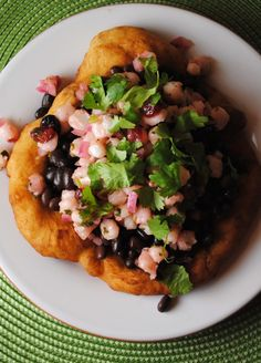 Hominy salsa - so interesting on fry bread (like I had with Mommy in New Mexico, and similar in flavor to dikuku Botswana I bet) with black beans