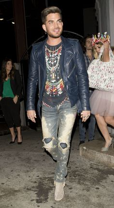 Adam Lambert out with friends in West Hollywood, California on 10 May 2014