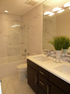 Contemporary Master Bathroom with tiled wall showerbath, Ceramic Tile, European Cabinets, Double sink, frameless showerdoor Small Bathroom With Shower, Double Sink Bathroom, Mirror Bathroom, Master Bathrooms, Small Bathrooms, Simple Bathroom, Master Bedroom, Budget Bathroom, Bathroom Ideas