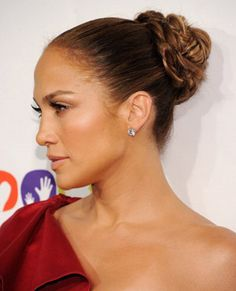 J-Lo with a braided bun - looking hot! #hair