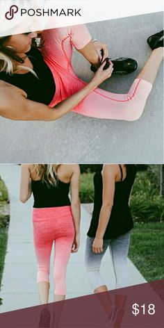 << Coral Pink Ombre Workout Leggings Capris >> A super cute way to work out! Be comfy and look ridiculously good in these super stretchy ombre pants. High waisted for comfort while working out  65% nylon, 30% polyester, 5% spandex  Available in S/M only.  Not lululemon, boutique brand  Sold out style! Boutique Pants Ankle & Cropped
