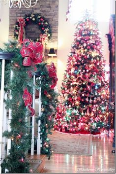 Ga. designer Marc Jones huge Christmas tree in his greatroom -- all Christopher Radko ornaments.  Magnificent! (4 part Home Tour featured on Southern Hospitality blog) Do. NOT. Miss. It!!! ~mgh