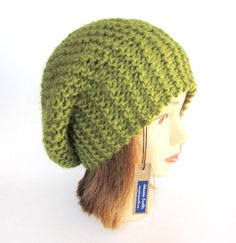Beret style hat  slouch hat  olive green beret  by Johannahats #Irish, #knit, #hat, #beret, #olive,  #green, #ribbed, #wool, #slouch, #hats, #slouchy, #beanie, #fun, #knitted, #women, #chunky, #accessory, #teenager, #winter, #warm,  #her, #fashion, #gift, #present, #Christmas, #tam