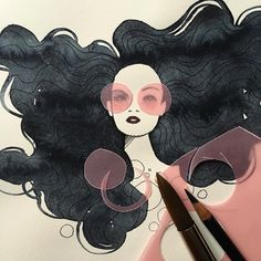 Anja Kroencke, Illustrator. #fashionillustration #illustration #papercut #collage #painting #watercolor #hair #beauty #anjakroencke