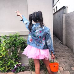 Custom made customised unique denim jacket personalised with name and patches rainbow letters kids fashion Baby Denim Jacket, Denim Jacket Patches, Jean Jacket For Girls, Jean Jacket Outfits, Diy Tutu Skirt, Customised Denim Jacket, Fly Baby, Cute Jean Jackets, Girl Style