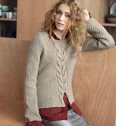 Modèle pull torsadé femme 30% laine