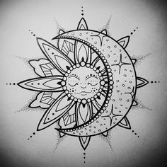 trendy tattoo mandala sun and moon coloring pages Trendy Tattoos, Cute Tattoos, Body Art Tattoos, New Tattoos, Small Tattoos, Sleeve Tattoos, Tatoos, Moon Sketches, Tattoo Sketches