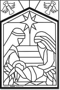 Kids Christmas Arts Craft Holy Family Nativity Colour Your Own Stained Glass Fuzzy Poster by Christmas Art For Kids, Christmas Nativity Scene, Christmas Colors, Christmas Crafts, Christmas Templates, Nativity Scenes, Christmas Printables, Christmas Christmas, Christmas Decorations