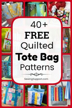 Quilted Tote Bag Patterns: Over 40 free diy sewing projects and tutorials, including lined styles. Many fun patchwork ideas great for use with charm packs and jelly rolls. Instructions for how to sew a quilted tote bag. Bag Patterns To Sew, Sewing Patterns Free, Quilt Patterns, Quilting Ideas, Gifts For Teen Boys, Gifts For Teens, Quilted Tote Bags, Diy Sewing Projects, Sewing Hacks