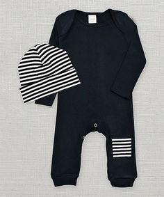Another great find on #zulily! Truffles Ruffles Black & White Stripe Patch Playsuit & Beanie - Infant by Truffles Ruffles #zulilyfinds