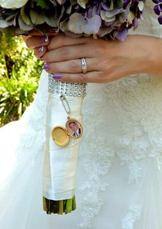 Attaching a locket, handkerchief, or other memento from a loved one helps include them in your special day.
