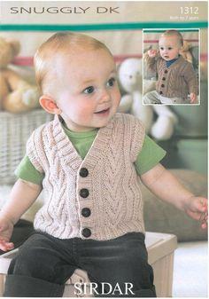 Baby / Childrens Cardigan & Waistcoat in Sirdar Snuggly DK
