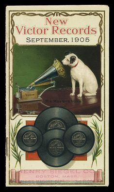 "1905 ""His master's voice"". The dog we know and love is Nipper. He's listening to a wind-up gramophone. In the photograph on which the painting was based, Nipper was listening to a phonograph cylinder. Pub Vintage, Vintage Labels, Vintage Ephemera, Vintage Cards, Vintage Signs, Vintage Pictures, Vintage Images, Old Posters, His Masters Voice"