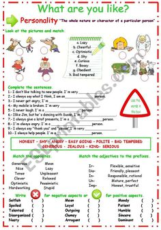 Adjective Worksheet, Vocabulary Worksheets, What Are You Like, Fun To Be One, Speech Language Therapy, Speech And Language, Adjectives To Describe Personality, Emotions Preschool, Esl