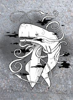 Sperm Whale vs. Squid by ~Kalizandrik on deviantART