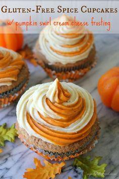 Gluten-Free Spice Cupcakes with Pumpkin Swirl Cream Cheese Frosting #dessert