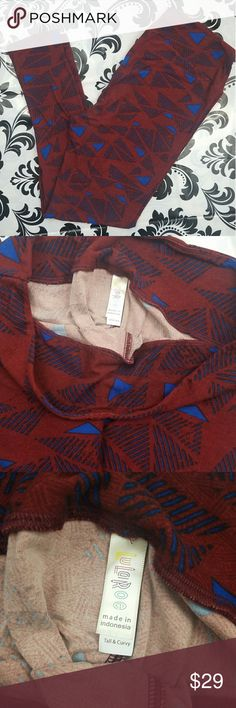 LuLaRoe leggings Women's LuLaRoe tall and curvy leggings  Maroon with blue print design all over BRAND NEW WITH out tags LuLaRoe Pants Leggings