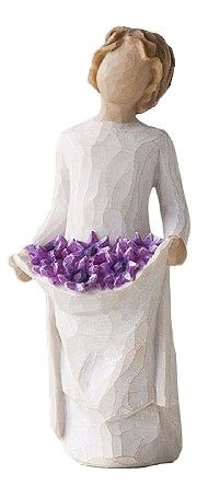 "Willow Tree Simple Joys: The saying on the gift card is ""You're simply a joy in my life"". Figurine has an apron full of purple flowers. Very similar to the Sunshine Angel that is holding yellow (sunflowers? Willow Tree Figures, Willow Tree Angels, Willow Tree Statues, Tree People, Star Flower, Tree Sculpture, Clay Figures, Collectible Figurines, Purple Flowers"