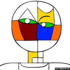 100% free coloring page of Paul Klee painting - Senecio. You be the master painter! Color this famous painting and many more! You can save your colored pictures, print them and send them to family and friends!