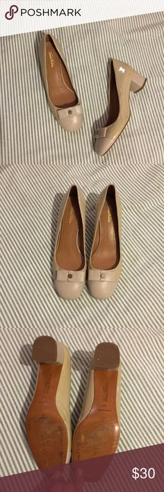 Brooks brothers nude mini heels Size 8.5. Have little scuffs as pictured from wear. But over all in pretty good condition! Brooks Brothers Shoes Heels