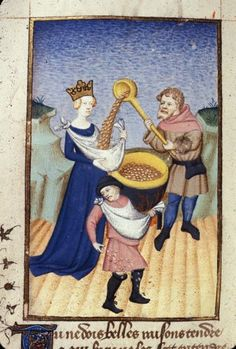 Queen's Book, fol. 140v. Ino sowing boiled corn. BL MS Harley 4431, The Book of the Queen, Selected Works of Christine de Pizan, 1410-1414AD.