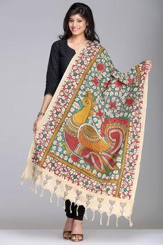 Kalamkari Sarees | Gorgeous Green Cotton Kalamkari Dupatta With Multicolored Peacock Motif And Gold Zari Border | IndiaInMyBag.com