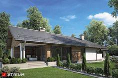 Dom parterowy z dwustanowiskowym garażem i czterema sypialniami, przykryty dwuspadowym dachem