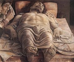 Mantegna, Cristo morto nel sepolcro e tre dolenti, 1470-1474. Milan, Pinacoteca di Brera. Is the one of the most famous paintings of the Italian Renaissance. The expressive power of the work is accentuated by foreshortening the body of Christ is very close to the audience that is dragged to the center of the drama. The features incisive lines force him to focus on details such as stiff limbs and wounds, ostensibly at first plan as set by the tradition of this kind of image.