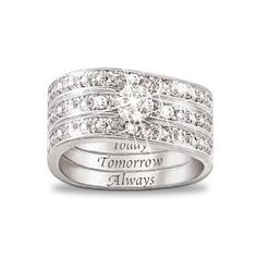 Engraved Diamond Women's Three Band Ring: Hidden Message Of Love by The Bradford Exchange --- http://udal.us/t1
