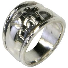 Double Gothic Cross Large Band Ring Old Glory