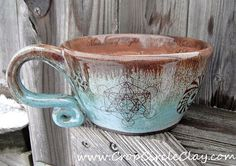 Flower of Life Handmade Pottery Soup Mug by CropCircleClay on Etsy |Pinned from PinTo for iPad|