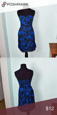Gorgeous Blue & Black Flowy Strapless Dress In excellent condition. Beautifully made and has very supportive elastic. Buy 3 items, get one free plus 15% off your purchase total! Dresses Mini