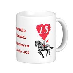 Personalized romantic zebra Quinceanera Classic White Coffee Mug