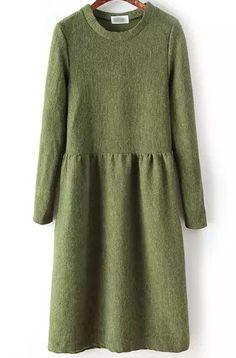 Green Round Neck Long Sleeve Knit Dress 25.00
