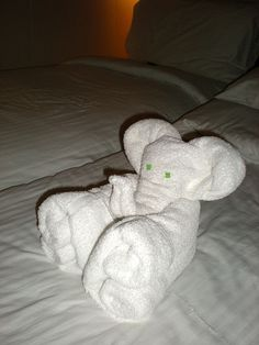 Towel Origami No. 3 - Elephant. Elephant made from folded towels and mints left on the bed in my stateroom onboard the Norwegian Cruise Lines ship MV Norwegian Pearl.