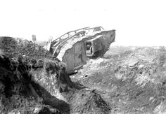 Abandoned britis tank during the battle of Cambrai