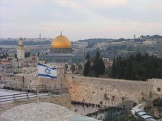 Beautiful view of the Temple Mount & Western Wall from the Jewish Quarter in East Jerusalem.