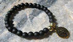 Matte Black Onyx Mala Bracelet prayer beads rosary by LotusJewels
