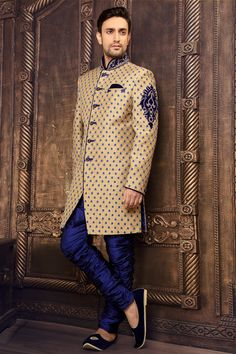 Beige brocade staright cut sherwani in full sleeves -SH144 - IndoWestern Sherwani/Achkans - Sherwani - Men's Wear